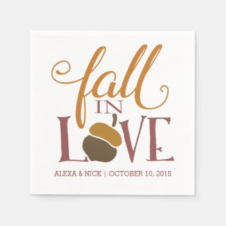 Fall in Love | Autumn Acorn Wedding Engagement Disposable Napkin