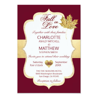 FALL IN LOVE Autumn Burgundy Gold Leaf Wedding Card