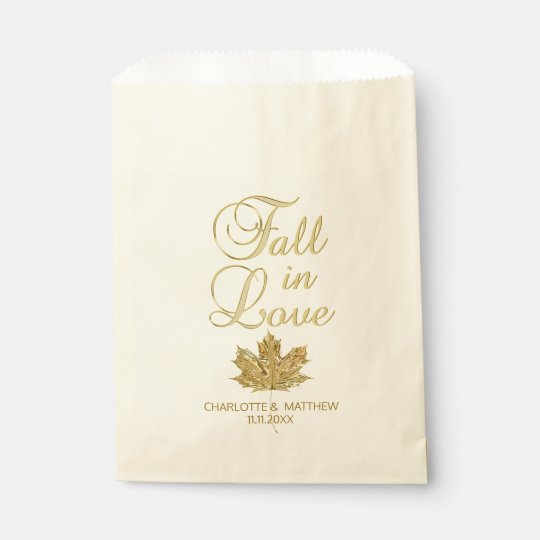 FALL IN LOVE Autumn Gold Maple Leaf Wedding Favour Bag