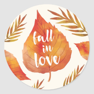 Fall in Love | Autumn Leaves Classic Round Sticker