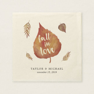 Fall in Love | Autumn Leaves Wedding Paper Napkins