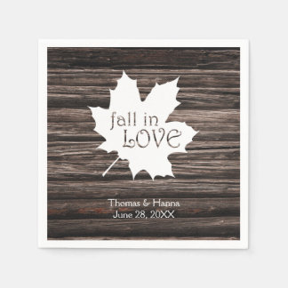 Fall in Love Autumn Wedding Paper Napkins