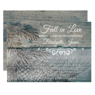 Fall in Love Bridal Luncheon Rustic Pine Tree Card