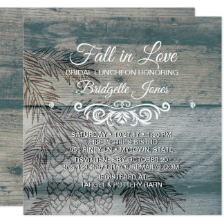 Fall in Love Bridal Luncheon Rustic Wedding Shower Card