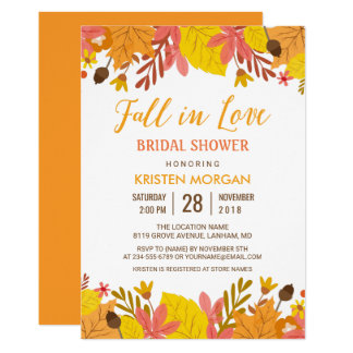 Fall in Love Bridal Shower Graceful Autumn Leaves Card