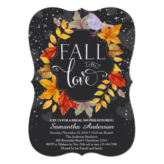 Fall In Love Bridal Shower Invite, Fall Wedding Card