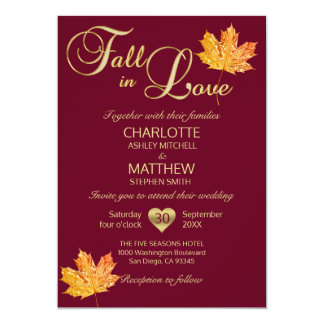 FALL in LOVE Burgundy Marsala Maroon Maple Wedding Card