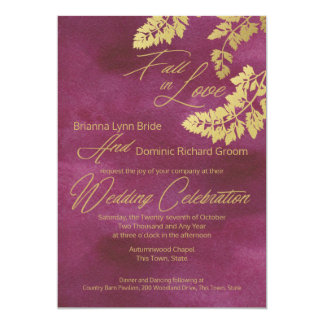 Fall in Love Cranberry and Gold Leaves Wedding Card