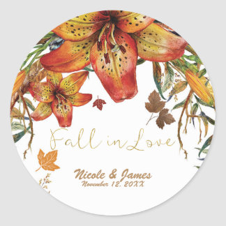 Fall In Love Floral Orange Lilies & Leaves Autumn Classic Round Sticker
