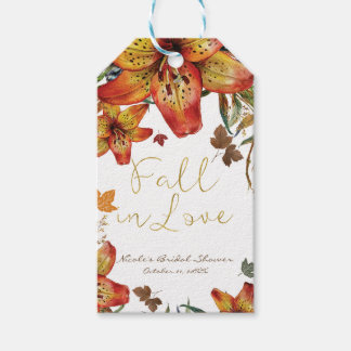 Fall In Love Floral Orange Lilies & Leaves Autumn Gift Tags