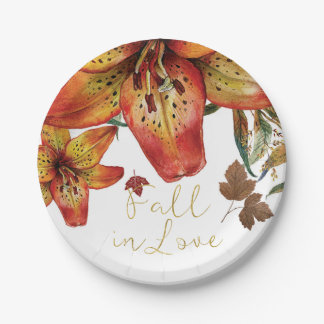 Fall In Love Floral Orange Lilies & Leaves Autumn Paper Plate