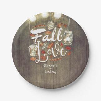 Fall in Love Mason Jar Lights Rustic Wedding Paper Plate