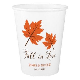 Fall in Love Orange Brown Leaves Wedding Paper Cup