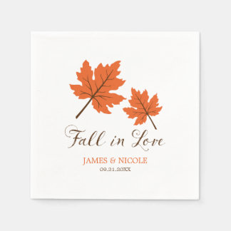 Fall in Love Orange Brown Leaves Wedding Paper Napkin