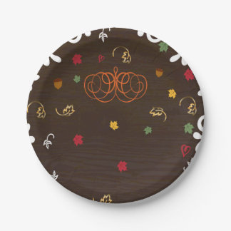 Fall in Love Pumpkins Leaves & Wood Baby Shower Paper Plate
