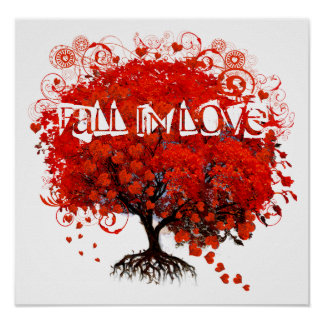 Fall In Love Red Tree With Hearts Falling Poster