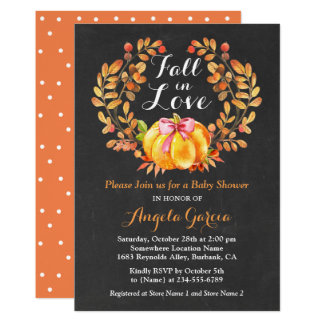 Fall in Love Rustic Pumpkin Baby Shower Invitation