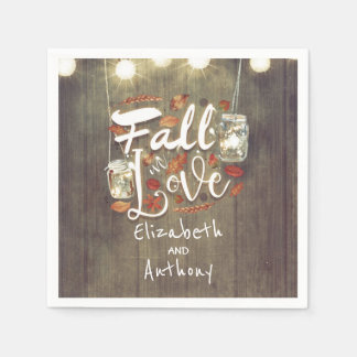 Fall in Love Rustic Wedding Napkin
