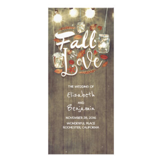 Fall in Love Rustic Wedding Programs
