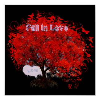 Fall In Love Swirls Roots Puzzle Pieces Red Tree Poster