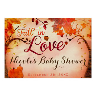 Fall in Love Whimsical Autumn Party Banner Poster
