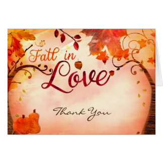 Fall in Love Whimsical Autumn Thank You Card