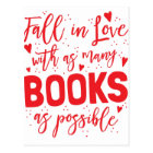 fall in love with books as possible postcard