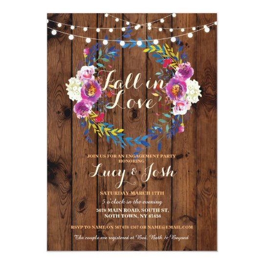 Fall in Love Wreath Wood Engagement Floral Invite