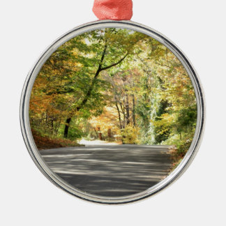 Fall in New England Back Road Metal Ornament