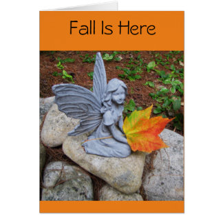 Fall Is Here Fairy and Leaf Card