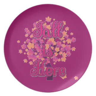 Fall is Here Melamine Plate