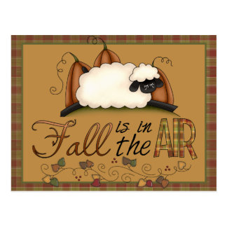 """Fall is in the Air"" Autumn Sheep Postcard"