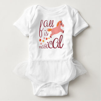 Fall Is Magical  Maroon Blush Color Unicorn Baby Bodysuit