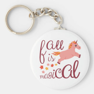 Fall Is Magical  Maroon Blush Color Unicorn Keychain