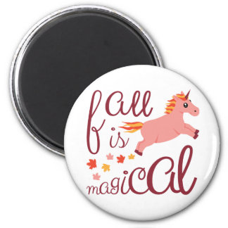 Fall Is Magical  Maroon Blush Color Unicorn Magnet