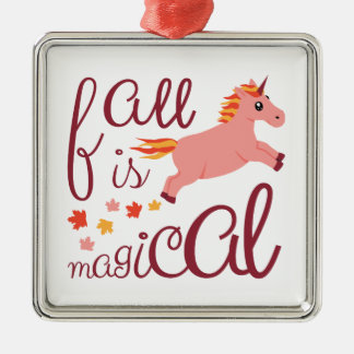 Fall Is Magical  Maroon Blush Color Unicorn Metal Ornament