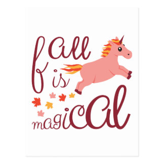 Fall Is Magical  Maroon Blush Color Unicorn Postcard