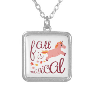 Fall Is Magical  Maroon Blush Color Unicorn Silver Plated Necklace