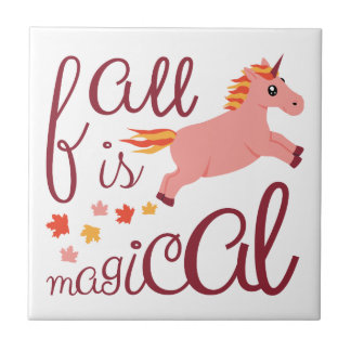 Fall Is Magical  Maroon Blush Color Unicorn Tile