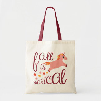Fall Is Magical Pink Peach Unicorn Tote