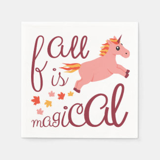 Fall Is Magical Pink Unicorn Napkin Paper Napkin