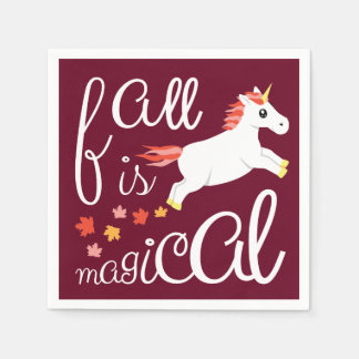 Fall Is Magical Unicorn Maroon Napkin
