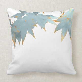 Fall Japanese Maple Leaves Frosted Blue Canopy Throw Pillow