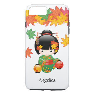 Fall Kokeshi Doll - Green Kimono Geisha Girl iPhone 8 Plus/7 Plus Case