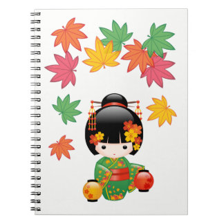 Fall Kokeshi Doll - Green Kimono Geisha Girl Notebook