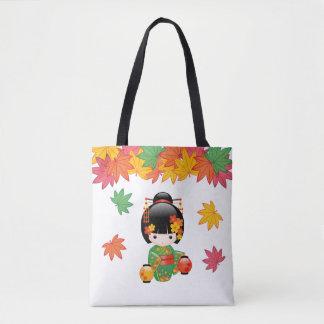 Fall Kokeshi Doll - Green Kimono Geisha Girl Tote Bag