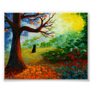 Fall Landscape Trees Black Cat Creationarts Poster