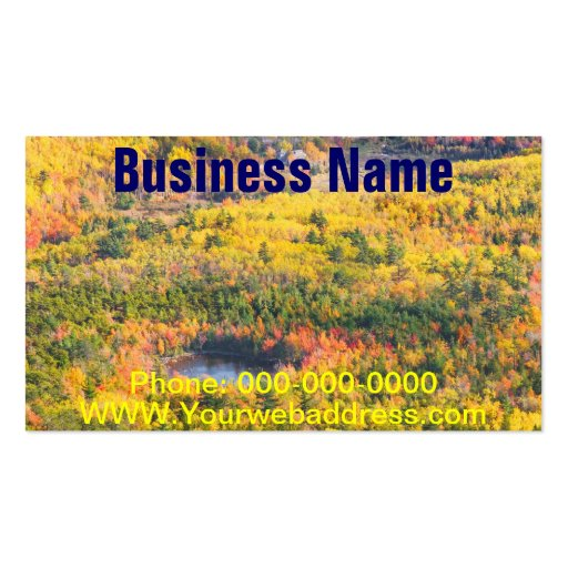 Fall Landscape With Pond in Acadia National Park Business Card