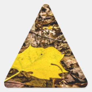 Fall Leaf and Mushrooms Triangle Sticker