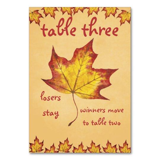 Fall Leaf Bunco Table Card #3
